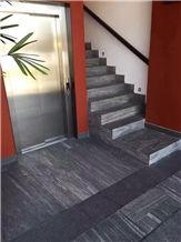 G302 Landscaping Granite Polished Steps, Wood Vein Grey Granite Stairs