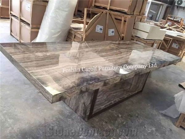 8 Seater Luxury Stone Marble Dining Table Set From China