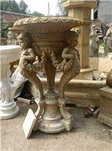 Anique Carving Sculpture Beige Marble Planter Flower Pot Carving Cup