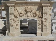 Flower Carving Fireplace Mantels, Beige Marble Fireplace Mantels