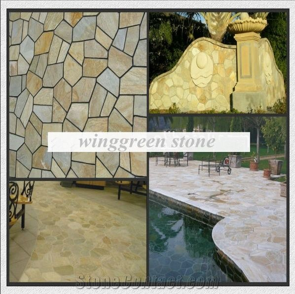 Competitive Price High Quality Rusty Slate Irregular Shape Flagstone Pavers/Random  Flagstone/Meshed Paver Stone For Floor U0026 Wall Cladding Pavers