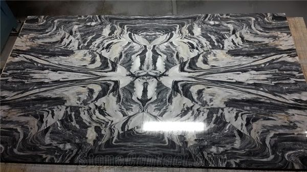 Prestige Nero Picasso Marble Tiles Slabs Black Polished