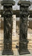 Black Marble Carving Column China Black Marble Sculpture Columns