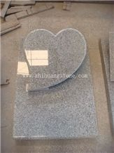Sesame White Granite Heart Shape Slant Monument