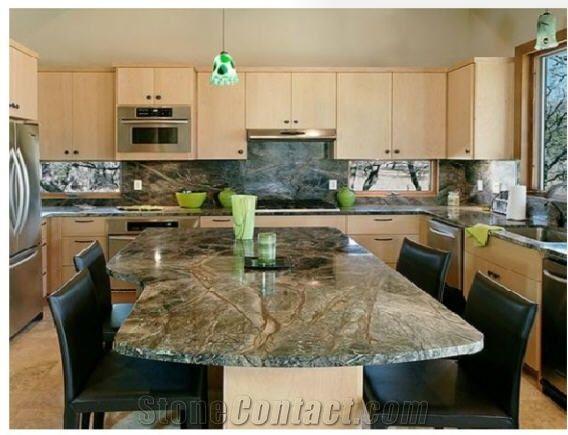 Rain Forest Green Kitchen Countertops Bidasar Marble Vanity Tops Island India