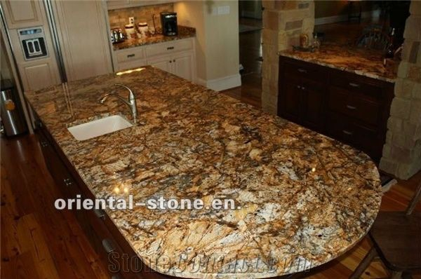 China Brown Granite Countertops Stone Kitchen Custom