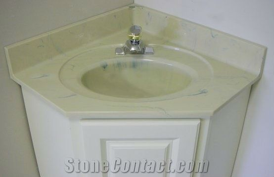 China Yellow Marble Engineered Bathroom Vanity Tops With