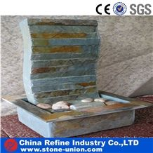 Chinese Slate Garden Fountain , Slate Culture Stone Fountain,Wall Mounted Stone Waterfall Fountain China Home Decoration Wholesale Slate Waterfall Fountain