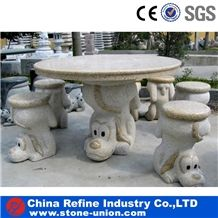 Landscaping Carving Sculptured Table Set, Stone Table, Marble Table, Granite Benches