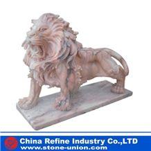 Lion Sunset Red Marble Statues , Lion Pink Marble Sculpture , Garden Lion Statue , Carving Lion Statue,Animal Sculptures,Statues,Western Statues