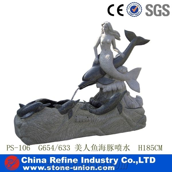 Mermaid Statue Stone Fountain With Dolphin Garden Sculpture Fountains , Sculpture  Fountain , Granite Decorated Fountain , Cheap Fountains