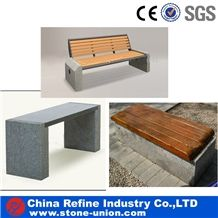 Stone Benches with Wood Surface and Wood Back , Sell Cheap Granite Stone Bench