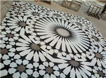 White Marble Mosaic Medallion Floor Medallion