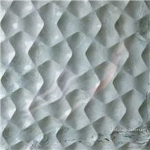 3d Cnc Green Feature Stone Panel, Green Marble Building Walling