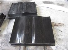 Indian Absolute Black Granite Book Shape Grave Markers, Funeral Acessories Cemetery Slant Headstones, China Factory Manufacturer Cheap Price Tombstone
