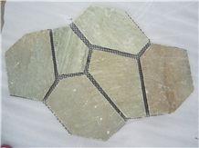 Yellow Slate Random Flagstones, Irregular Slate Crazy Paving Stone, Flagstone Pavers for Walkway, Road Project
