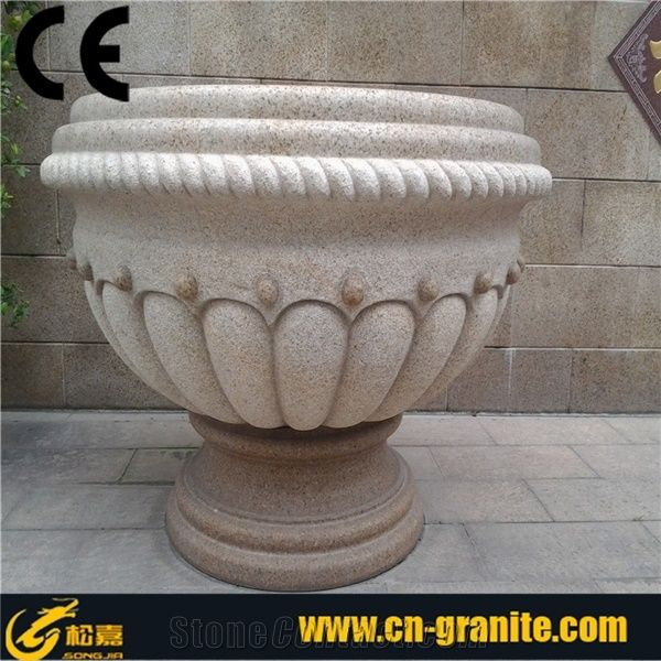 Yellow Granite Pot Flower Pot Flower Pot Stone Exterior