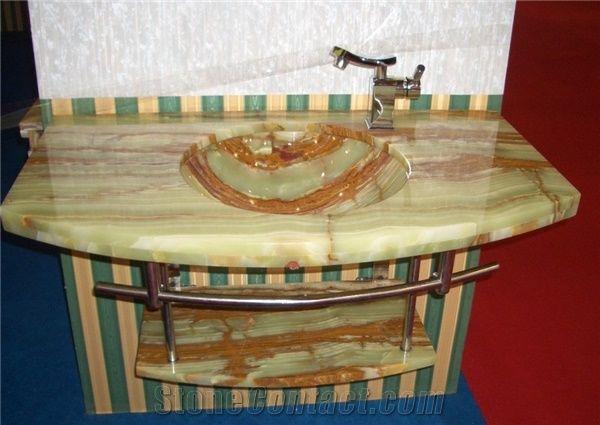 Green Onyx Basin Vanity Top,Bathroom Countertops