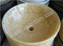 Honey Onyx Wash Bowls, Yellow Round Sinks & Basins