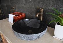 Natural Shanxi Black Granite Round Basin & Sinks
