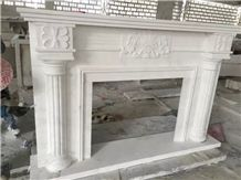 Pure White Cast Marble Stone Fireplace Mantel