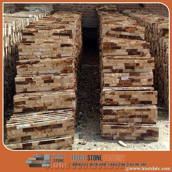 Autumn gold stone veneer panels copper rust ledgestone hebei brown slate exterior stone veneer for Exterior wall panels philippines