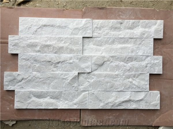 Milky White Marble Split Face Wall Cladding Panels