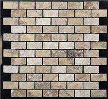 Tumbled Scabos Travertine Brick Mosaic