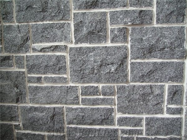 Dark Grey Tumbled Stone Veneer Wall Cladding Limestone
