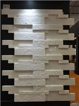 White Marble Cultured Stone Veneer Polished Surface with Hammed Surface Z Shape, Cultured Stone Wall Cladding, Ledger Stacked Stone Veneer, Thin Ledgestone Veneer