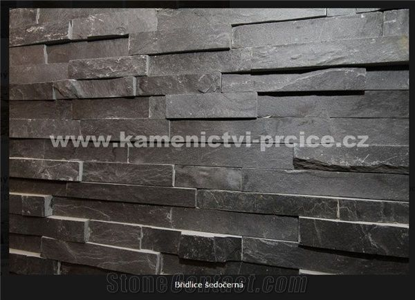 Riven Black Slate Wall Panels from Czech Republic - StoneContact.com