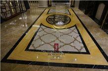 Turkey Auman Beige Marble,Composited Marble Waterjet Medallion, Floor Medallions,Thin Laminated Water-Jet Medallions