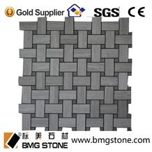 Grey Wood Marble Mosaic, Basketweave Mosaic