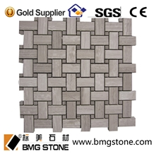 White Grey Seperggiant Marble Basketweave Mosaic