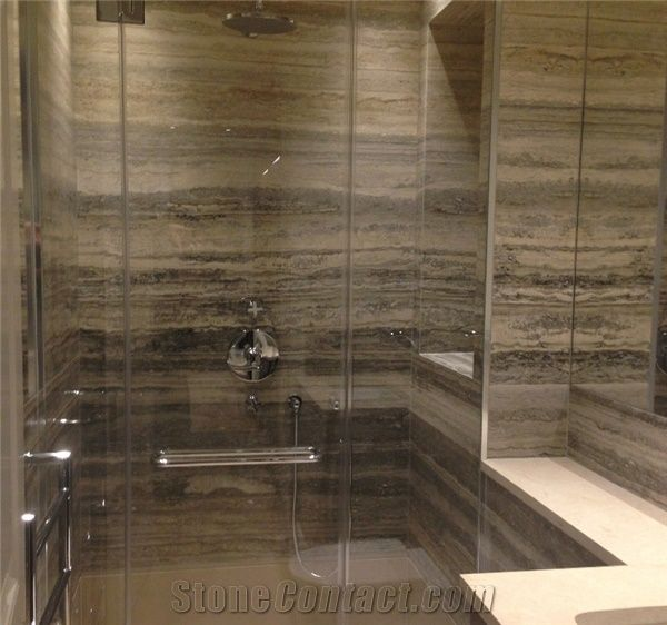 Roman Silver Travertine Bathroom Shower Design