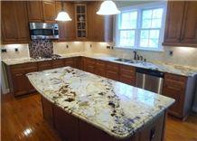 Crystal Yellow Granite Kitchen Countertops/Granite Kitchen Bar Top/Crystal Yellow Granite Kitchen Island Tops/Crystal Yellow Granite Kitchen Worktops/Kitchen Countertops/Kitchen Tops