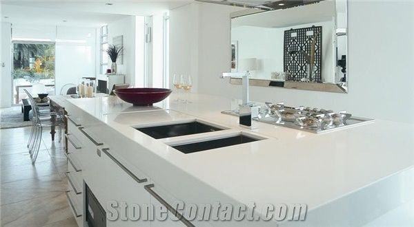 Pure White Engineered Quartz Kitchen Countertops Pure