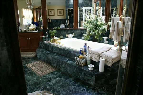 Dark Green Marble Bathroom Design From United States