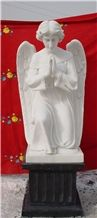 Angel Sculpture, China White Jade Marble Handcarved Craft, Marble Sculpture