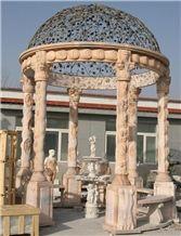 China Beige Marble Stone Gazebo & Pavilions,Column Gazebo,Garden Gazebo with Iron Top,Western Style Gazebo,Marble Carved Gazebo,Sculptured Garden Gazebo, Landscaping Stones