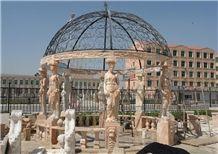 China Stone Gazebo & Pavilions,Column Gazebo,Garden Gazebo with Iron Top,Western Style Gazebo,Marble Carved Gazebo,Sculptured Garden Gazebo, Landscaping Stones