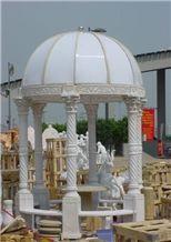Chinese Pure White Marble Sculptured Gazebo, Western/European Customized Gazebo