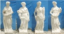 Four Season Handcarved Statues, China White Marble Human Sculptures, Four Women Statues, Hancraving