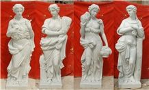 Four Season Sculptures, China White Marble Human Sculptures, Handcraved Marble Statues