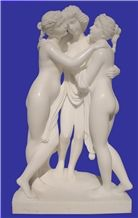 Human Sculpture, China White Marble Sculpture, Handcavred Statues, Pretty Girls Sculptures/ Sister Statues