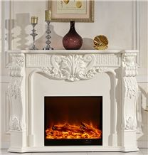 Natural Stone White Marble Fireplace for House Decoration,Hotel Decoration Marble Fireplace