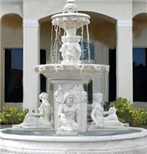 Outdoor Garden White Hand Carved Statue Natural Marble Fountain,China White Marble Sculpture Fountain for Garden/Exterior Decoration