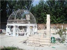White Marble Gazebo,China Stone Gazebo & Pavilions,Column Gazebo,Garden Gazebo with Iron Top,Western Style Gazebo,Marble Carved Gazebo,Sculptured Garden Gazebo,Landscaping Stones