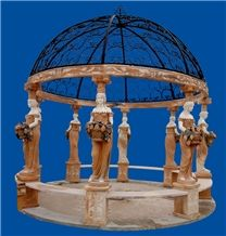 Hand Carved Beautiful Marble Lady Statue Gazebo Pavilion for Outdoor Garden