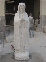Hand Carved Hunan White Marble Stone Religious the Virgin Mary Statue & Sculpture